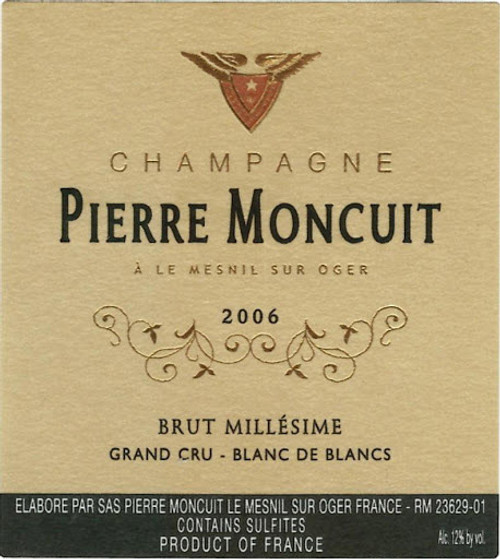 Moncuit/Pierre Brut Blanc de Blancs Champagne Grand Cru Millesime 2006 1.5L