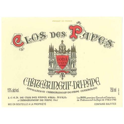 Clos des Papes Châteauneuf-du-Pape 2019