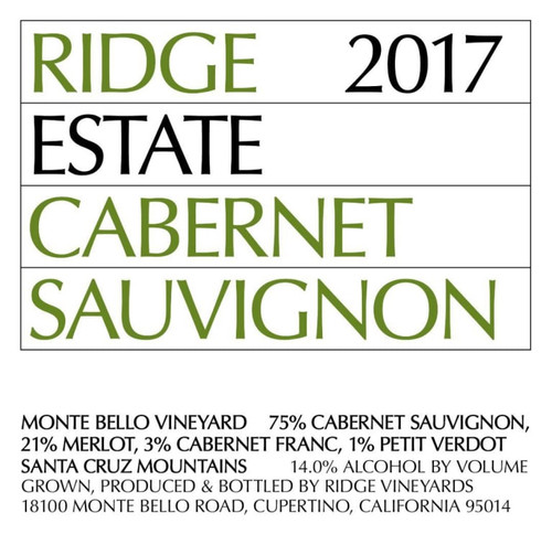 Ridge Cabernet Sauvignon Santa Cruz Mtns. Estate Vineyard 2017