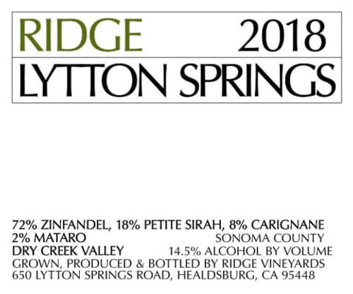 Ridge Lytton Springs Dry Creek Valley 2018