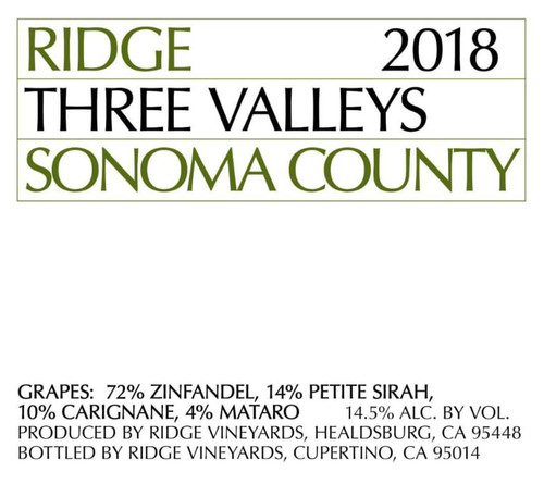 Ridge Three Valleys Sonoma County 2018