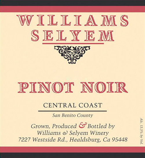 Williams-Selyem Pinot Noir Central Coast 2019