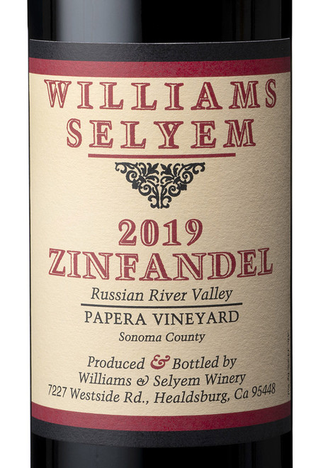 Williams-Selyem Zinfandel Russian River Valley Papera Vineyard 2019