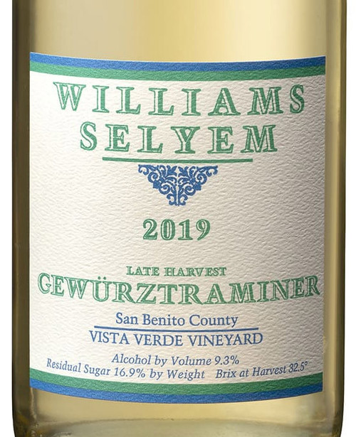 Williams-Selyem Late Harvest Gewurztraminer Vista Verde Vineyard 2019 375ml