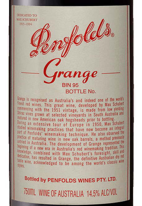 Penfolds Shiraz South Australia Grange 2015