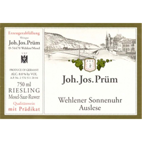Prüm/JJ Riesling Auslese Wehlener Sonnenuhr 2018