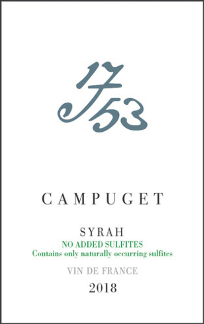 """Campuget Vin de France Syrah """"1753"""" Sans Sulfites 2018"""