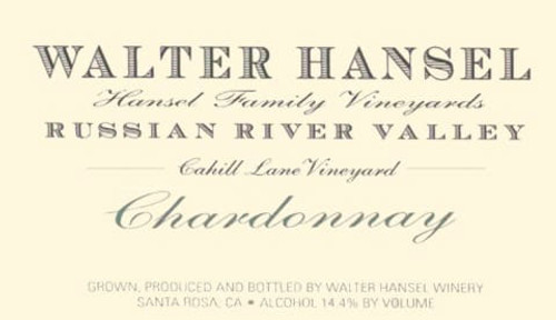 Walter Hansel Chardonnay Russian River Valley Cahill Lane 2019