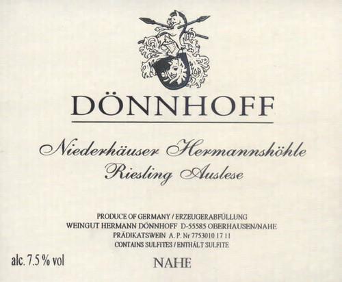 Dönnhoff Riesling Auslese Gold Cap Niederhäuser Hermannshöhle 2020 375ml
