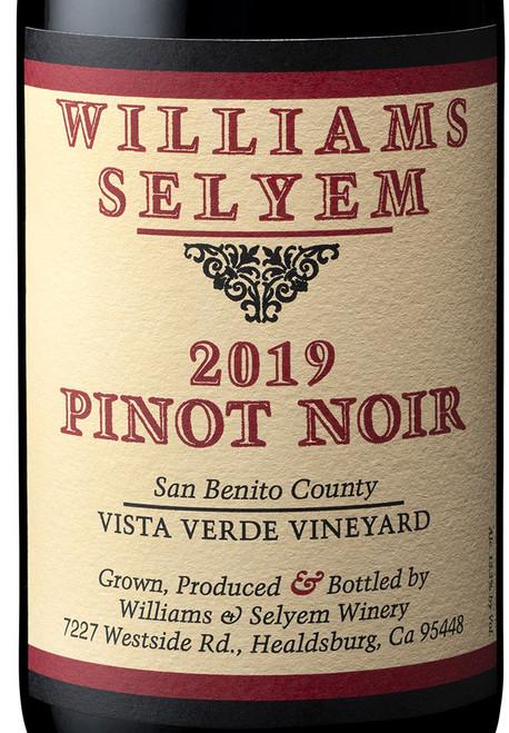 Williams-Selyem Pinot Noir San Benito County Vista Verde Vyd. 2019