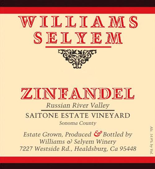Williams-Selyem Zinfandel Russian River Valley Saitone Estate Vyd 2019