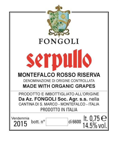 Fongoli Montefalco Rosso Riserva Serpullo 2015