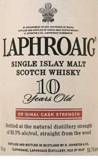 Laphroaig 10 Year Single Islay Malt Original Cask Strength