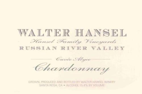 Walter Hansel Chardonnay Russian River Valley Cuvée Alyce 2018