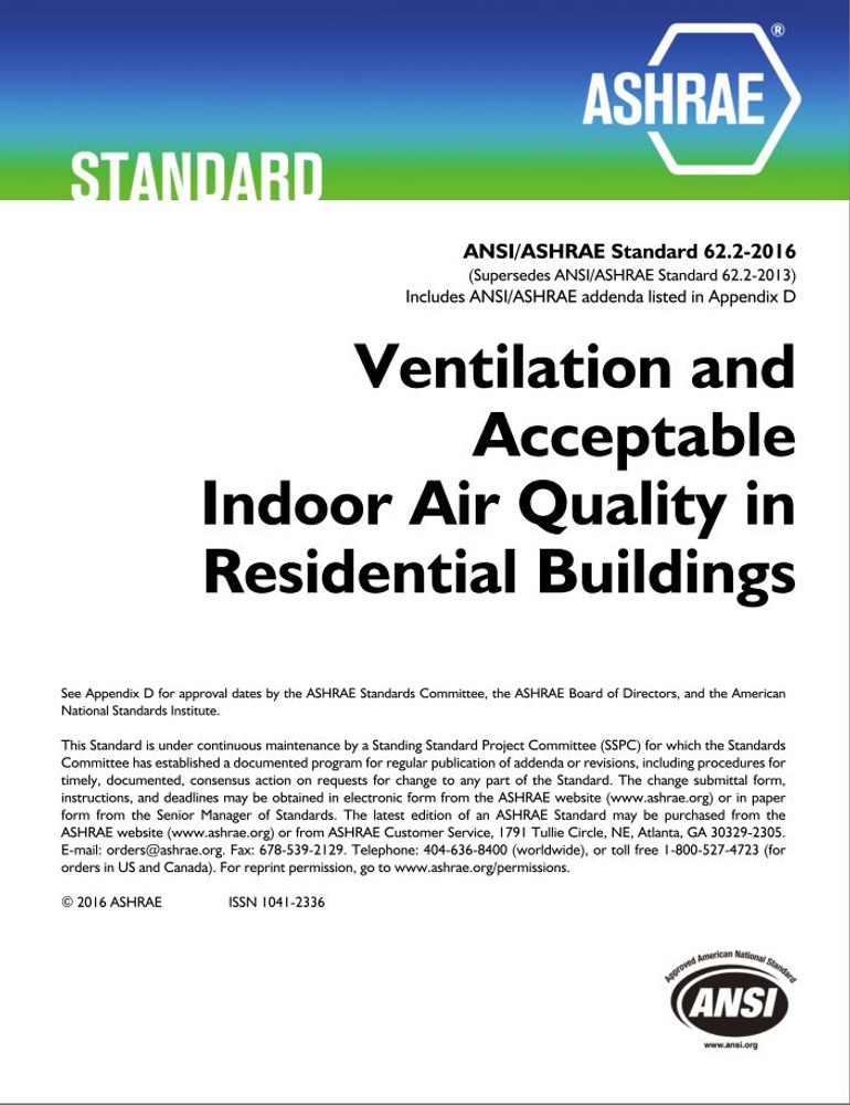 ASHRAE 62 2-2016 Ventilation and Acceptable Indoor Air Quality in
