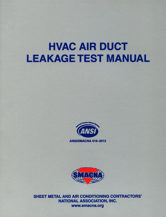 HVAC Air Duct Leakage Test Manual - ISBN#9781617210273