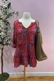 Floral Print Ruffle Tunic Top