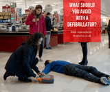 What should you avoid with a defibrillator?