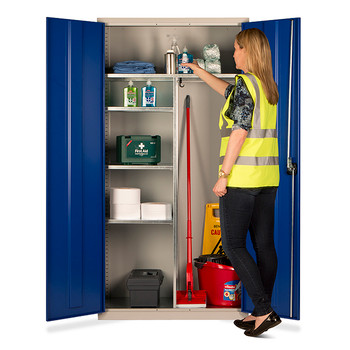 Janitorial Cupboard 1830 x 915 x 457mm (723618JAN) blue open
