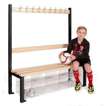 Single Sided School Cloakroom Island Seating Plus 8 Compartments 1370(h) x 400(d) x 1200(l)mm (PIS120SSB)