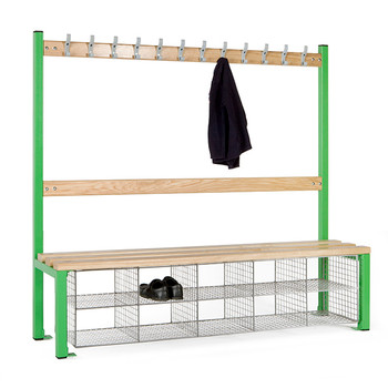 Single Sided School Cloakroom Island Seating Plus 10 Compartments 1370(h) x 400(d) x 1500(l)mm (PIS150SSB)