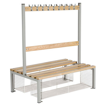 Double Sided School Cloakroom Island Seating Plus Shoe Tray 1370(h) x 760(d) x 1500(l)mm (PIS150DST)