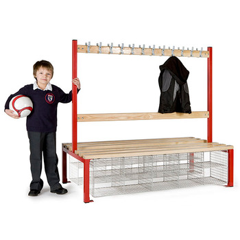 Double Sided School Cloakroom Island Seating Plus 20 Compartments 1370(h) x 760(d) x 1500(l)mm (PIS150DSB)