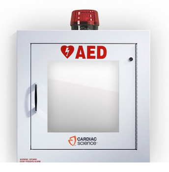 AED Wall Cabinet Surface Mount with Alarm & Strobe, Security Enabled