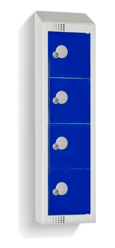 Four Door Personal Effects Locker with Sloping Top (Wall Mountable) 920/990 x 250 x 160mm