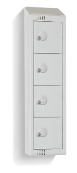 Four Door Personal Effects Locker with Sloping Top (Wall Mountable) 920 x 250 x 160mm
