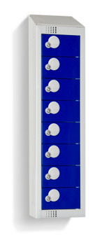 Eight Door Personal Effects Locker with Sloping Top (Wall Mountable) 920/990 x 250 x 160mm