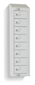 Eight Door Personal Effects Locker with Sloping Top (Wall Mountable) 920 x 250 x 160mm