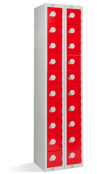 20 Door Personal Effects Locker (Floor Standing) 1800 x 450 x 380mm red