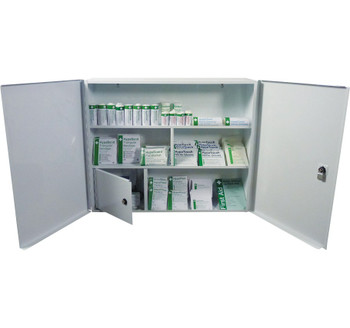 First Aid Metal Cabinet Double Door, Single Depth, Empty, Open