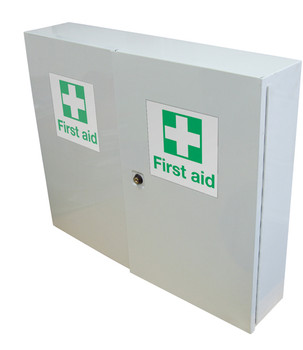 First Aid Metal Cabinet Double Door, Single Depth, Empty