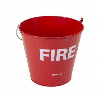 Red metal fire bucket