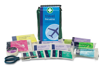 Travel First Aid Kit in Green Helsinki Bag contents
