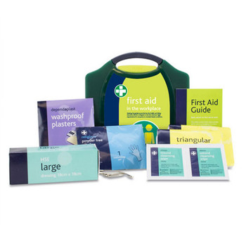 HSE 1 Person First Aid Kit in Green Aura Box (2111) open