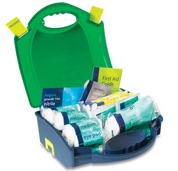 HSE 10 Person Workplace First Aid Kit in Green Integral Aura Box open