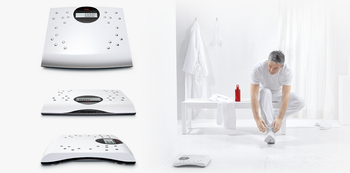 Digital personal scales with chrome-plated electrodes - seca sensa 804 in situe