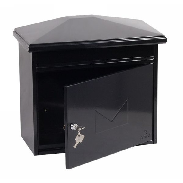 Phoenix Libro Front Loading Letter Box MB0115KB in Black with Key Lock