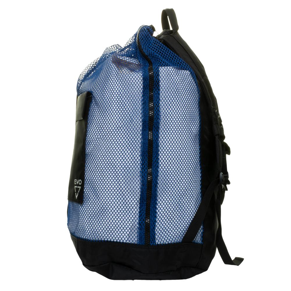 EVO Deluxe Mesh Backpack Dive Bag Side Zipper - Blue