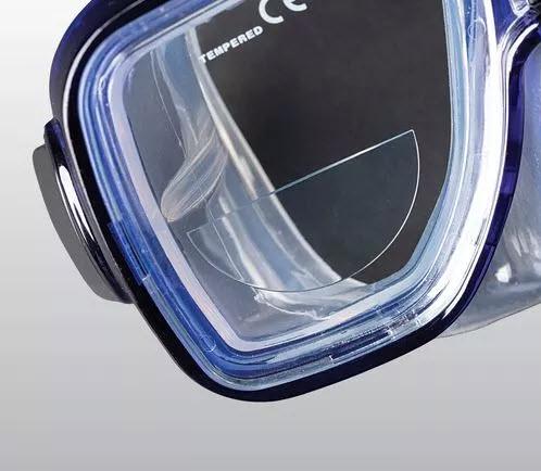DiveOptx Scuba Mask Magnification Lenses Installed