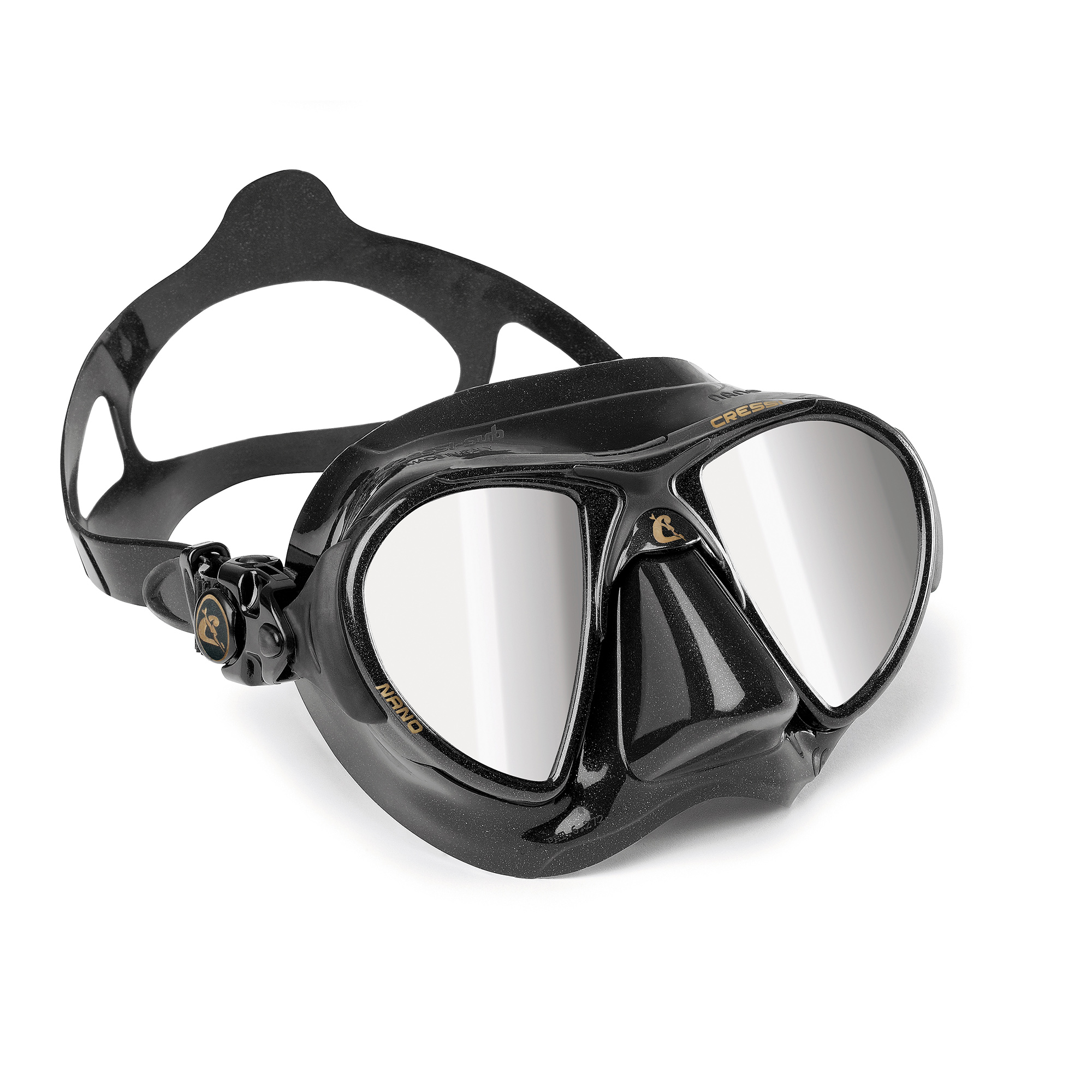 Cressi Nano Black Mask, Two Lens (Mirrored)