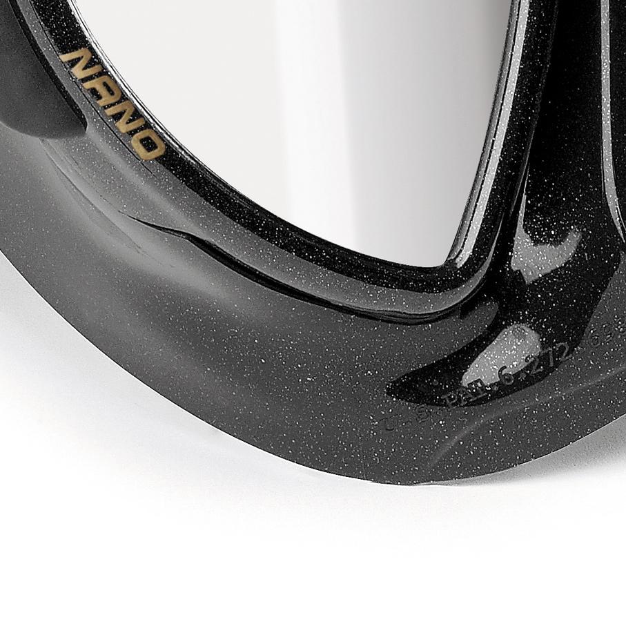 Cressi Nano Black Mask, Two Lens (Mirrored) Mask Skirt Detail