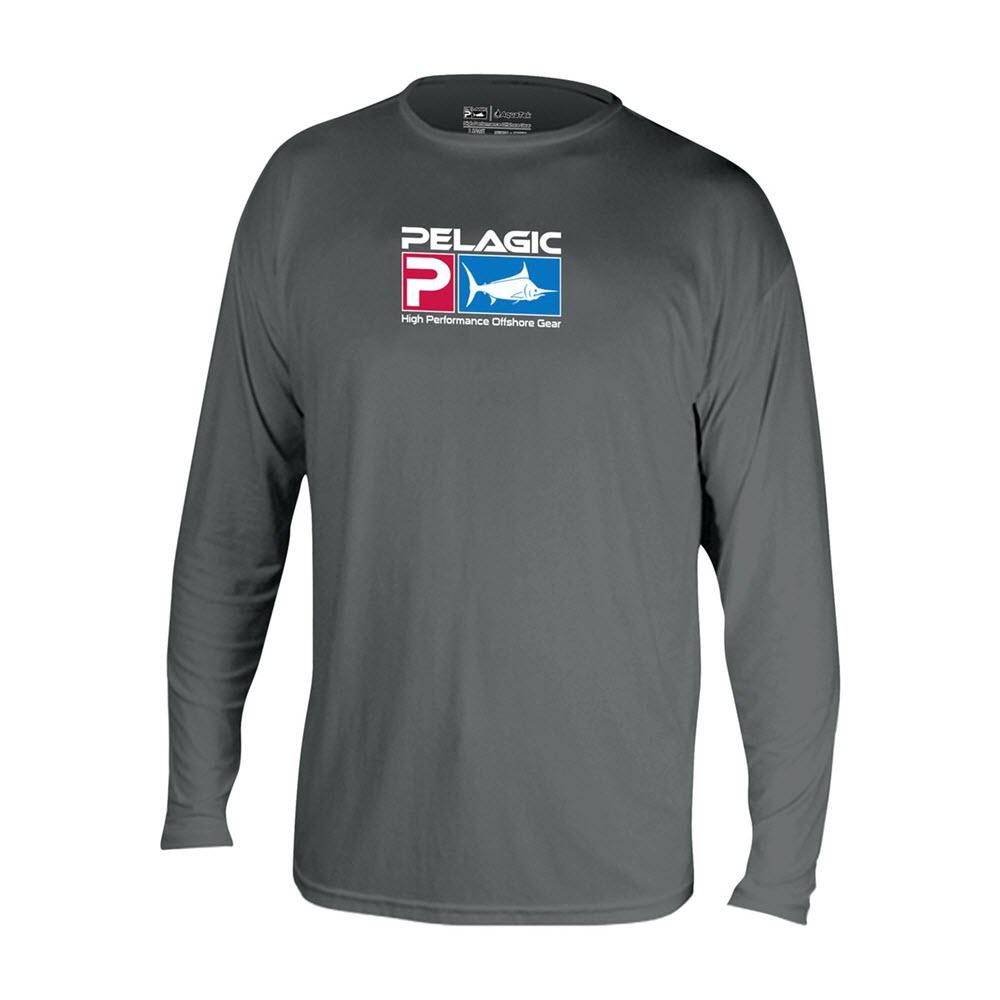 Pelagic Aquatek Long Sleeve Performance Fishing Shirt - Charcoal