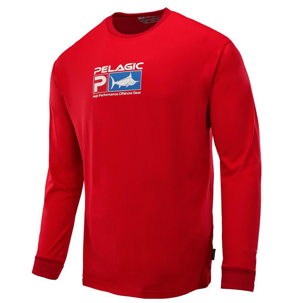 Pelagic Aquatek Long Sleeve Performance Fishing Shirt - Red
