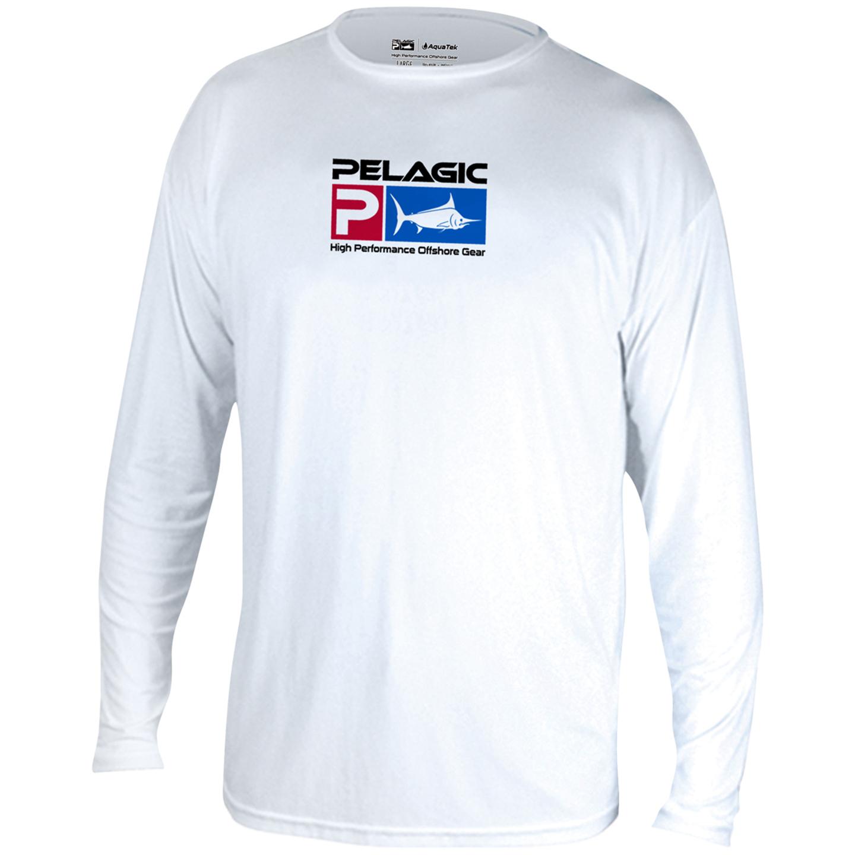 Pelagic Aquatek Long Sleeve Performance Fishing Shirt - White