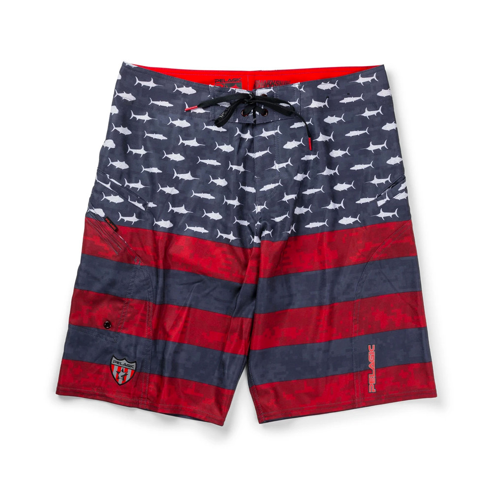 Pelagic Sharkskin Americamo Boardshorts - Red
