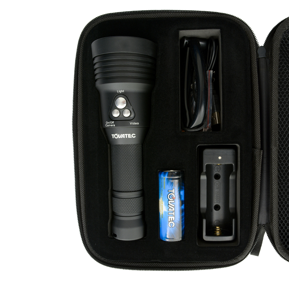 Tovatec MERA Dive Light & Built in Camera In Carry Case with Accessories (Included)